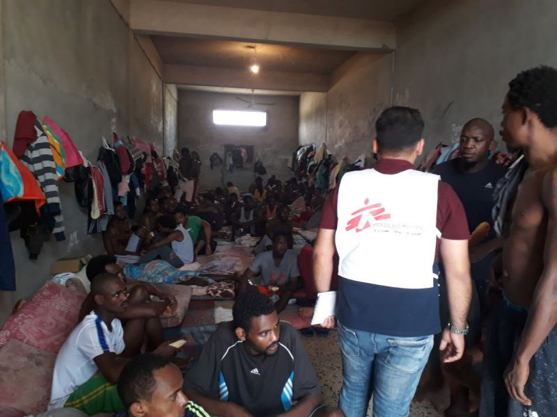 An MSF Fieldworker inspecting a detention centre in Libya