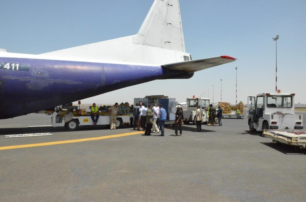 The first MSF cargo arriving by air to Sana'a with 15 tons of humanitarian medical emergency aid. Photo: MSF