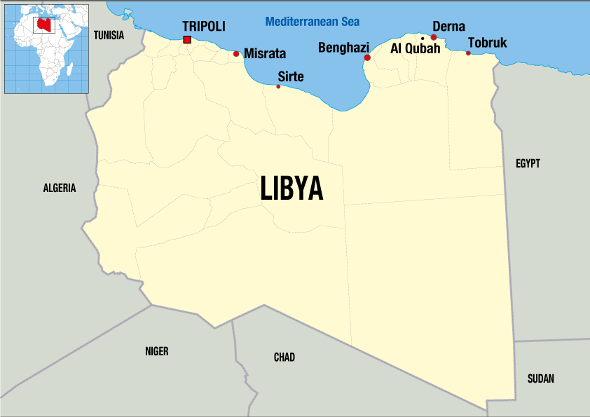 A map showing MSF activities in Libya