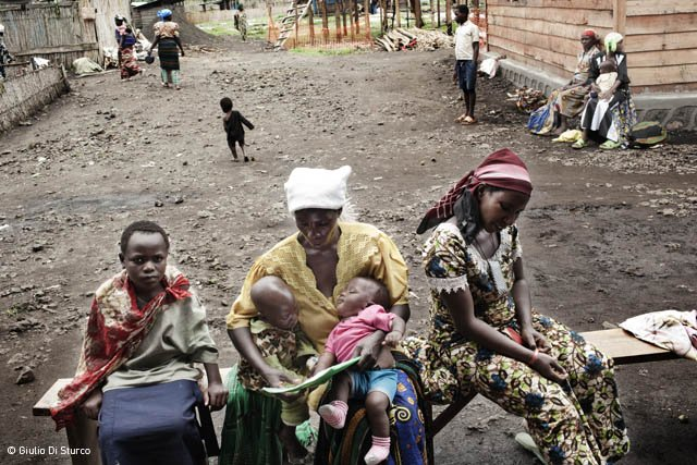 Mweso Hospital in Democratic Republic of Congo, mothers waiting for a doctor outside the paediatric ward.