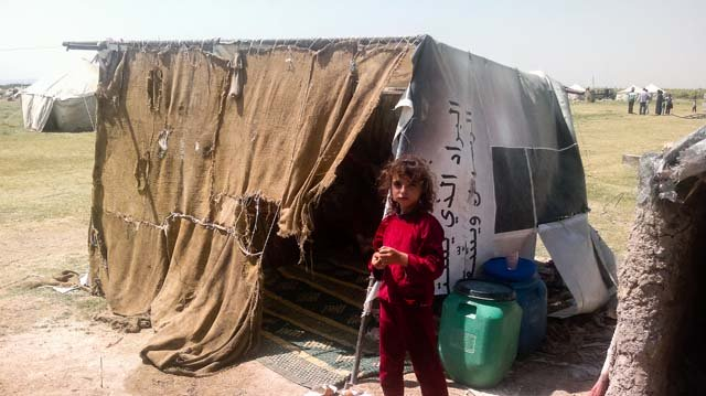 September 2013. IDPs camp in Al Safira district, Aleppo province. MSF provided assistance  with tents, drugs and other goods to IDPs who all fled north after the October violent attack on the whole district. Photo: MSF