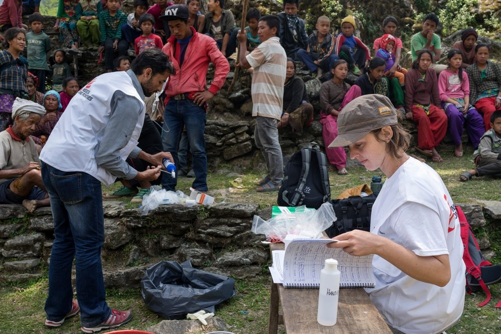 An MSF medical team conduct a mobile clinic at Kuni village in Dhading District. Photo: Brian Sokol