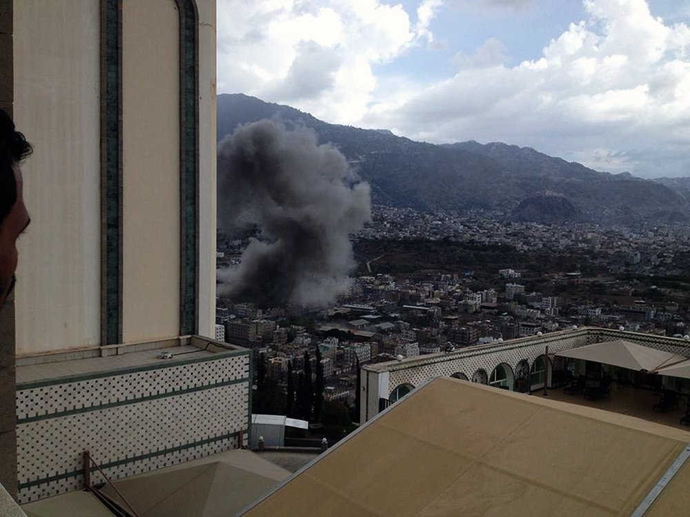 An overview of Taiz, Yemen during an airstrike. Photo: Mohammed Al-Hamadi