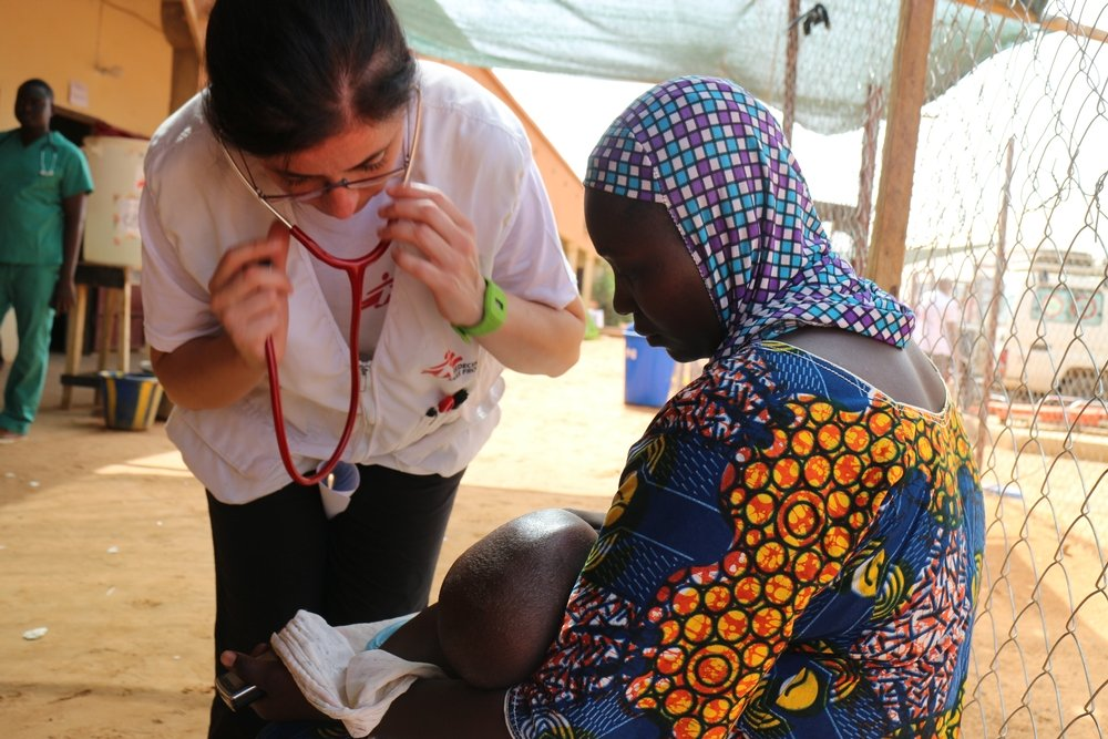 Dr Roberta Petrucci is examining a child at Lazaret center in Niamey. Photo: Halimatou Amadou
