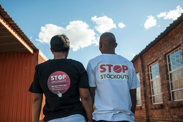 The Stop Stocks Outs Project mobilizes activists and people living with HIV or TB to record and report occurrences of stock outs in South Africa. Photo: Stefan Heunis
