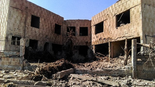 A photo taken in June after the Busra hospital, in Dara'a governorate was destroyed after being hit by ten barrel bombs. Photo: MSF