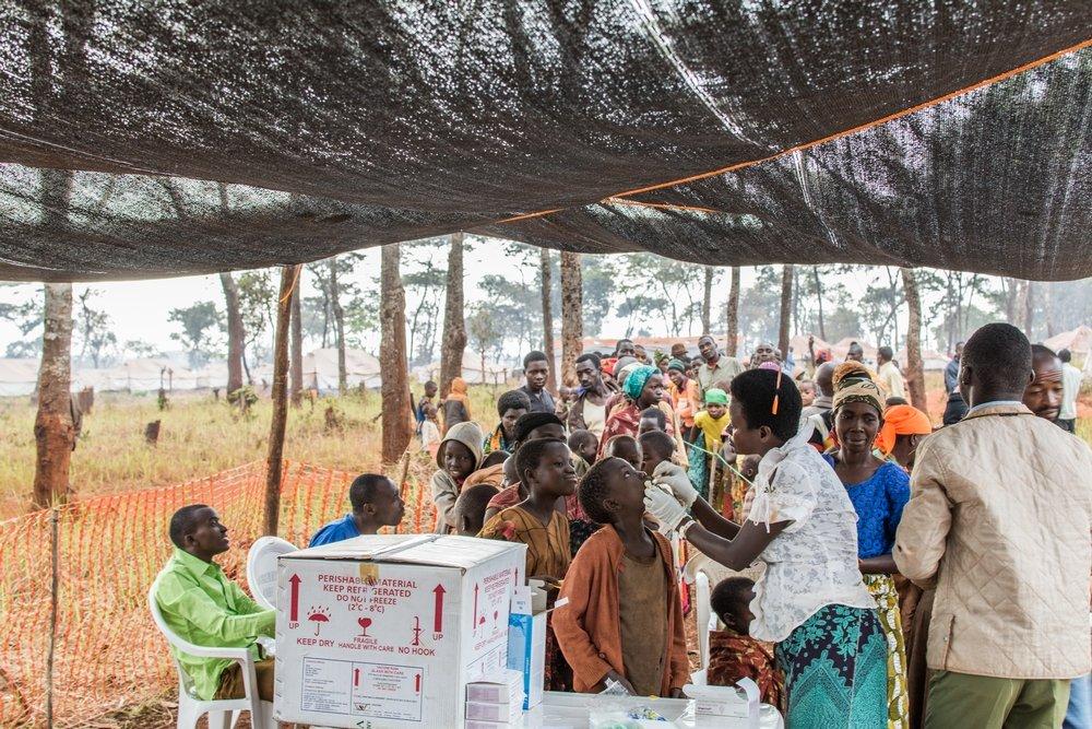On Saturday 20 June 2015, MSF began a four-day oral cholera vaccination campaign in Nyaragusu refugee camp in Tanzania. Photo: Erwan Rogard