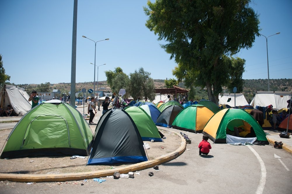 Tents belonging to refugees in Kara Tepe camp. Georgios Makkas