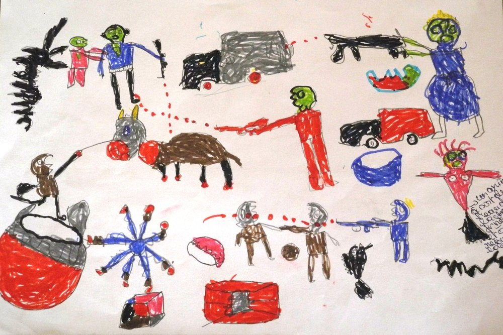 ​A picture by a 12 year old boy, a Nigerian refugee who fled Boko Haram attacks. This drawing was done in the workshop that the MSF mental health team conducts for children in the Dar Es Salaam refugee camp in Chad. Photo: MSF