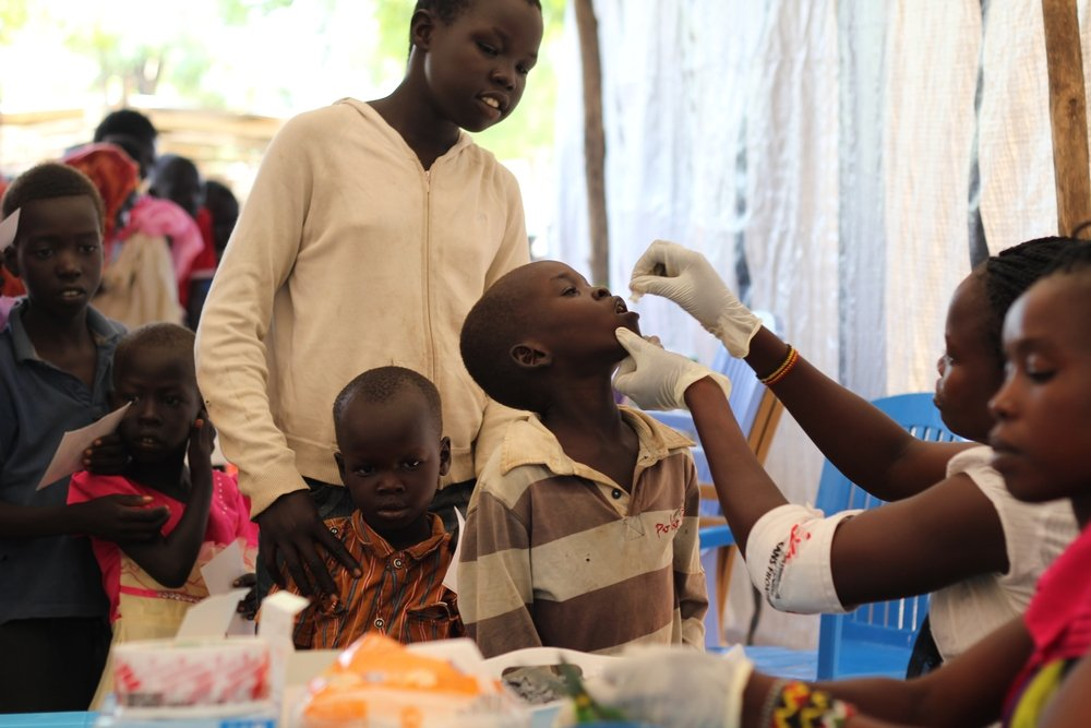 A boy receives a dose of cholera vaccination in Juba, South Sudan. Photo: Donal Gorman