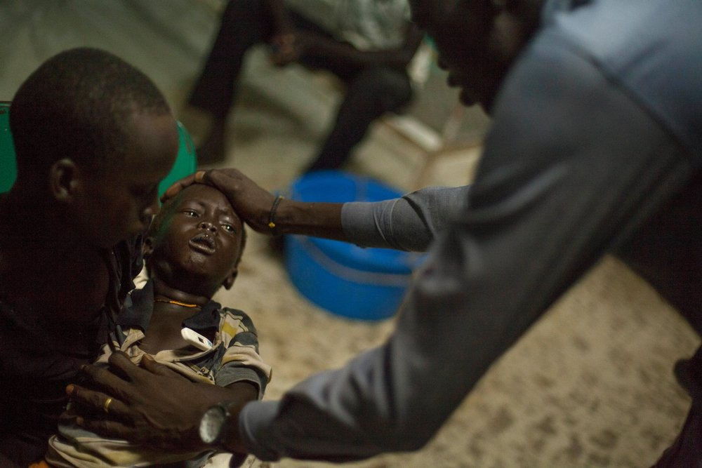 Kume, a three year old boy, tested positive for malaria. He had a fever of 39.7 when his family brought him into the hospital at Bentiu POC