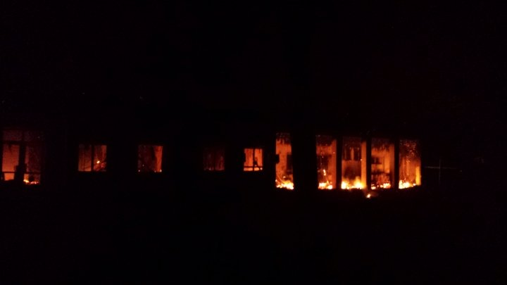 Fire at MSF's Kunduz hospital following the bombing. Photo: MSF