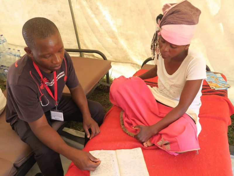 MSF staff treating patients in a health care centre in Chimanimani, Zimbabwe