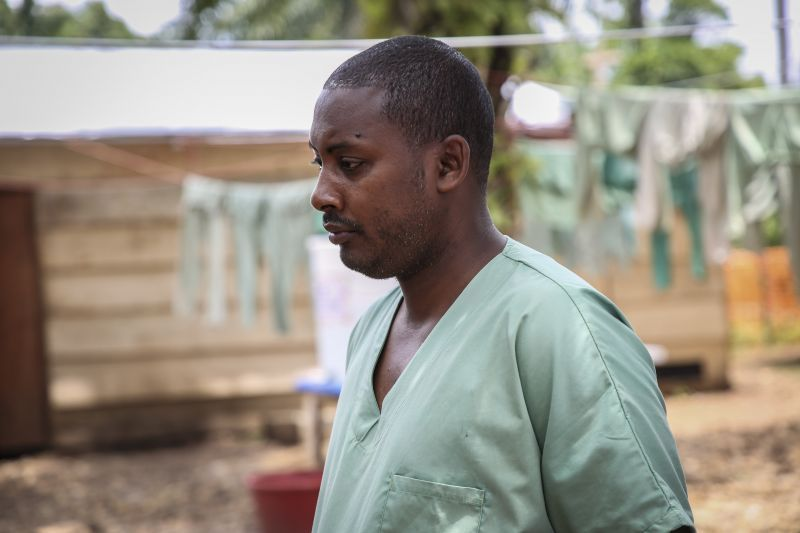 An MSF health worker at the Ebola transit centre
