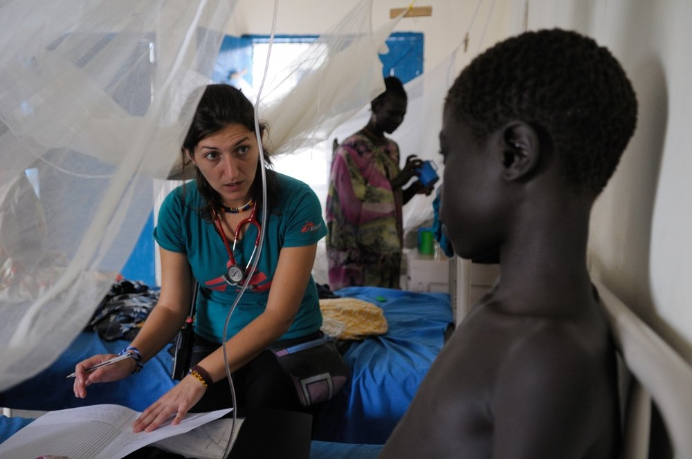 Dr Claudia Truppa in the in-patient department of MSF's clinic in Pibor