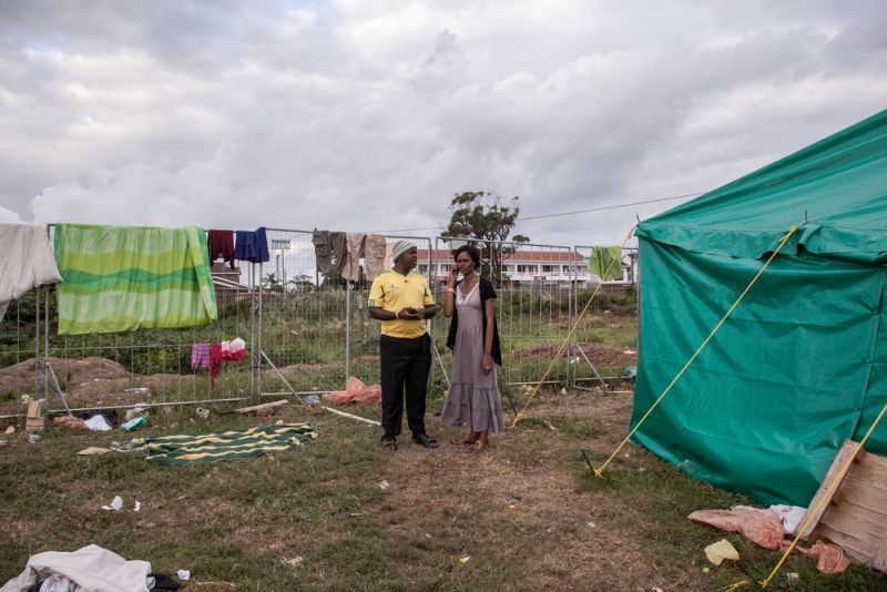 Kasai (39) and his wife Coco (34) in the tented camp where they sought refuge from a wave of xenophobic violence that broke out in Durban, a city on the eastern coast of South Africa. Photo by: Greg Lomas