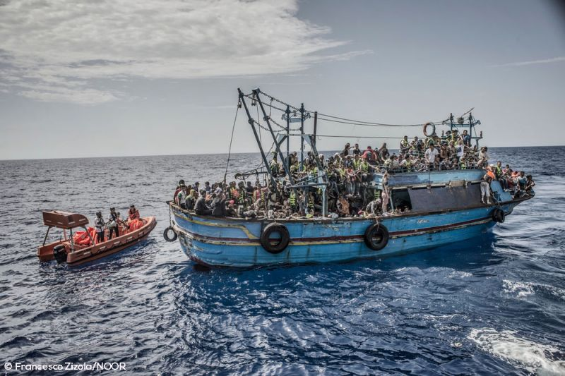 26th August 2015. A boat containing approximately 650 people is rescued in the Mediterranean Sea by the Bourbon Argos and taken to Sicily, Italy.