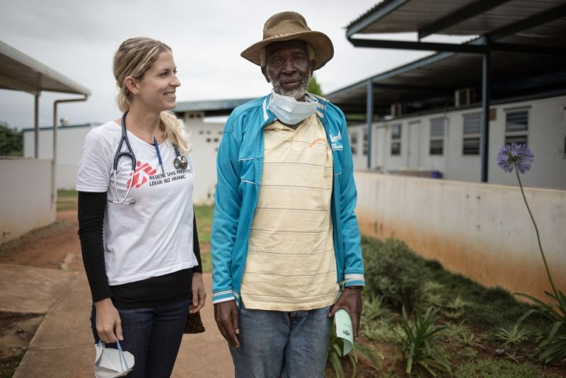 Samuel, 66, with Veronika Polvoca, MSF DR-TB Doctor. He has just finished doing tests to check if he has TB.