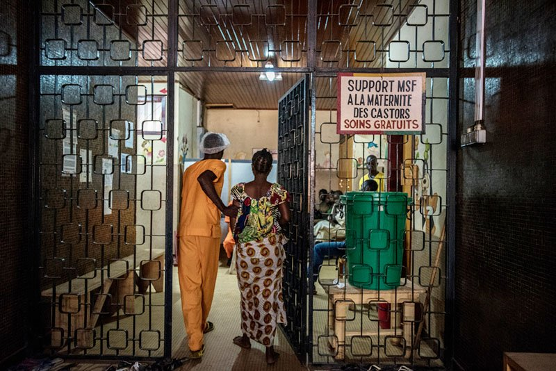 Safe abortion day: A pregnant woman, whose waters have recently broken, arrives at the Castor Maternity Hospital in Bangui.