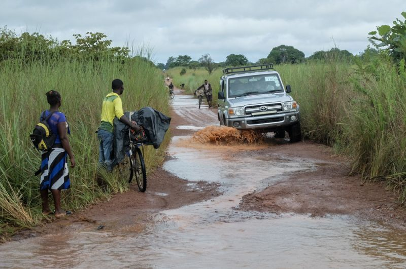 The road between the refugee camps in Kenani and Mantapala, in the Zambian province of Luapula