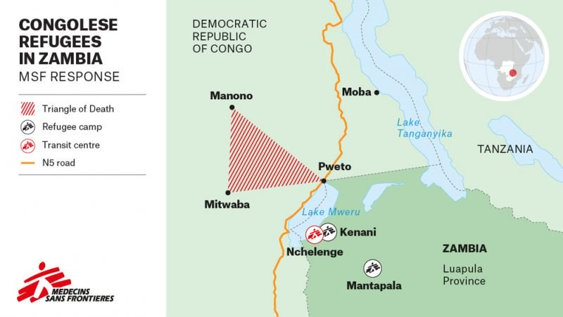 Congolese Refugees in Zambia MSF Map