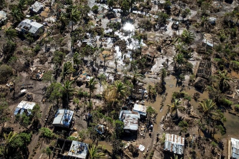 areal view of areas destroyed by cyclone Idai in Beira, Mozambique