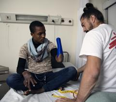 Patient Abdallah at our MSF Reconstructive Surgery Hospital in Amman. Jordan, October 2019.