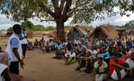 A picture of people awaiting treatment in Cabo Delgado