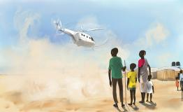 Graphic with kids looking at a helicopter