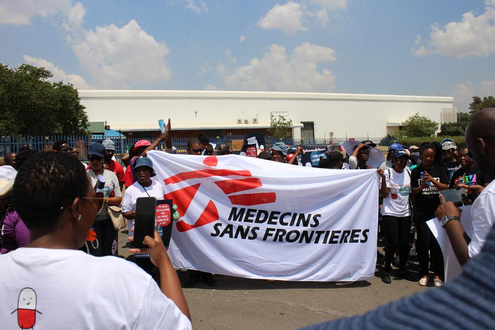MSF Flag during access campaign march in Johannesburg