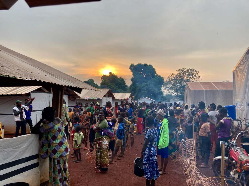 A picture of people gathered to seek refuge in Bangassou Hospital