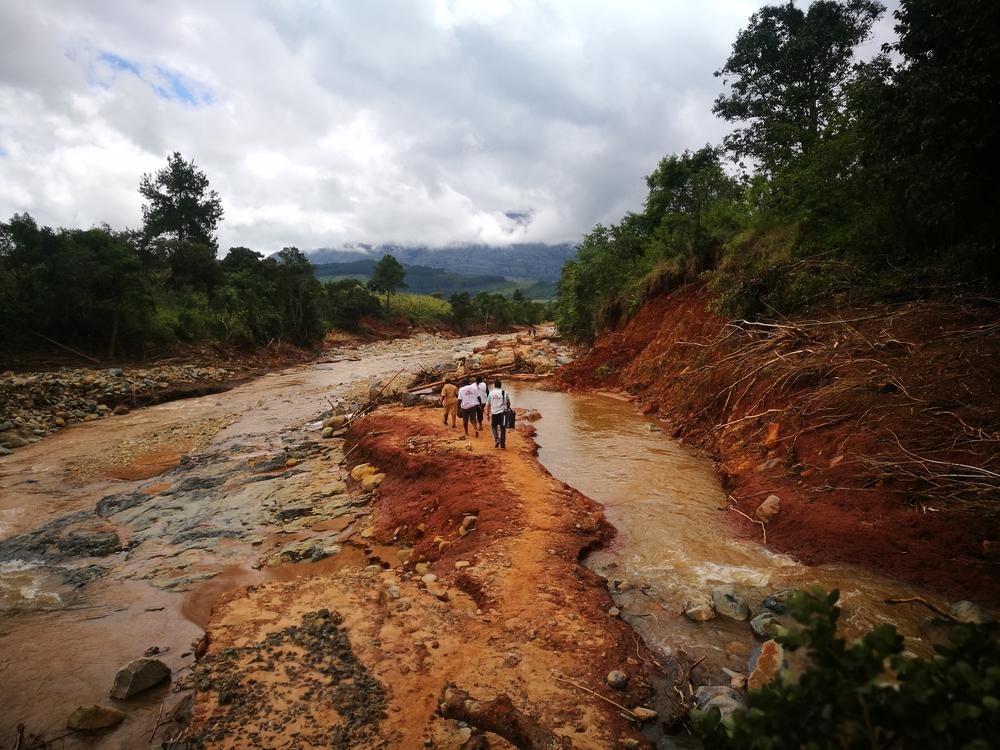 Our MSF team walking on foot to access a village cut off by damage caused by Cylone idai in Chimanimani.