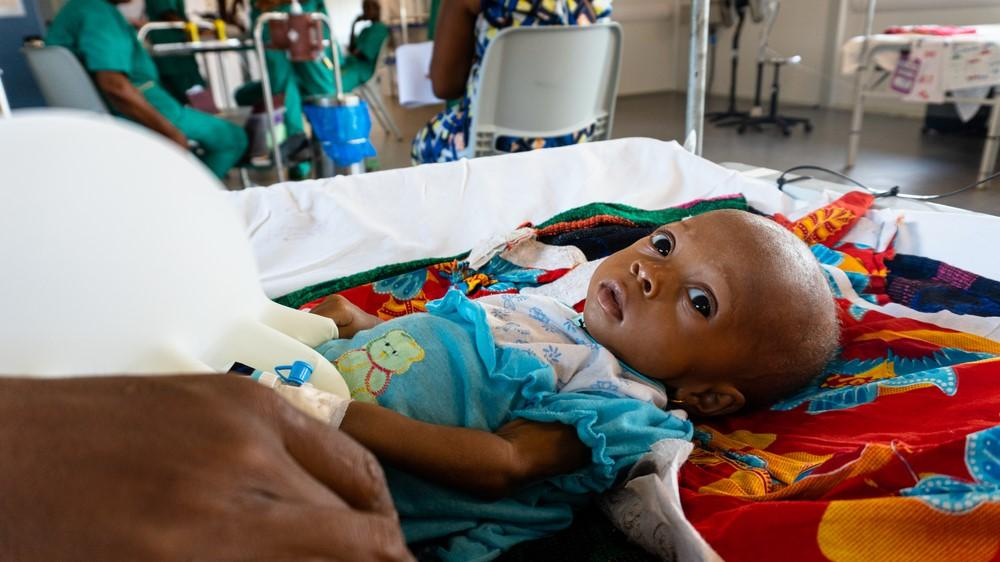 Six-month-old Iye Lamin at one of the two inpatient therapeutic feeding centres at MSF's new hospital in Hangha, Sierra Leone.