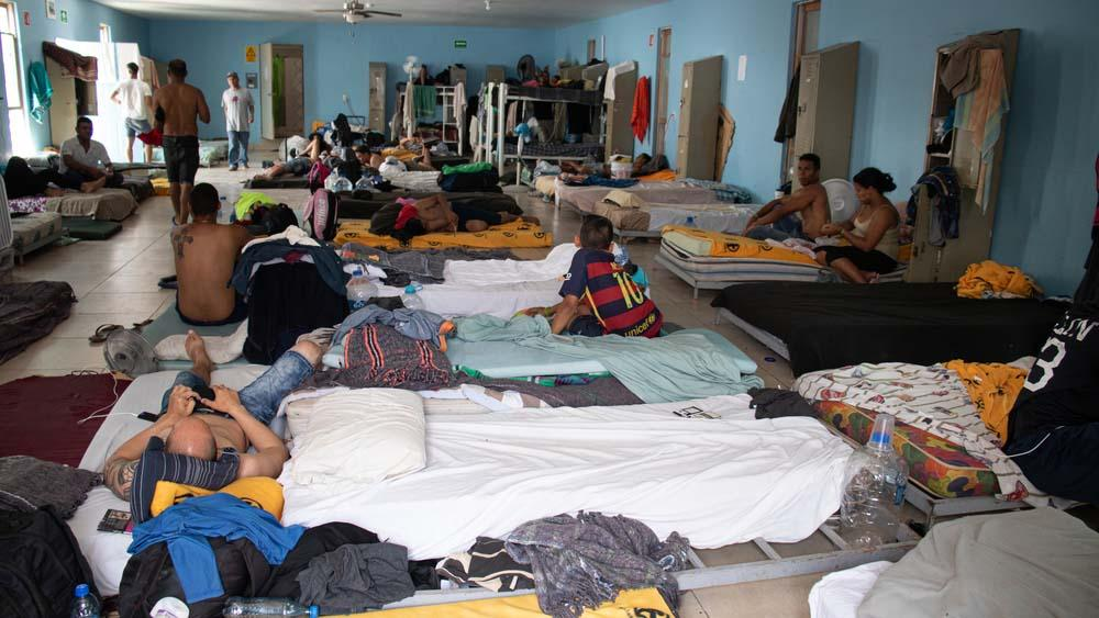 A picture of migrants inside the camp in Mexico