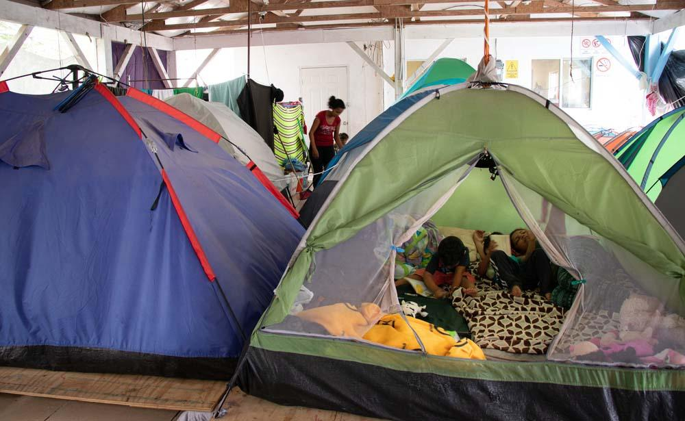 A picture of tents where migrants have been residing in Mexico