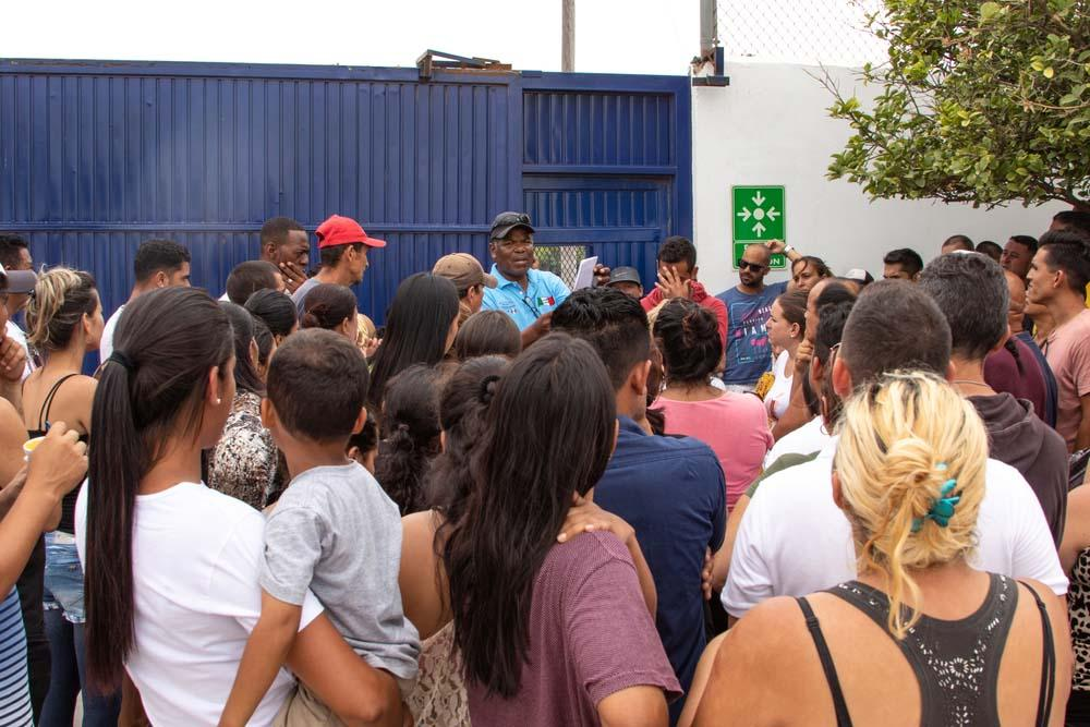 A picture of migrants outside the camp in Reynosa, Tamaulipas, Mexico