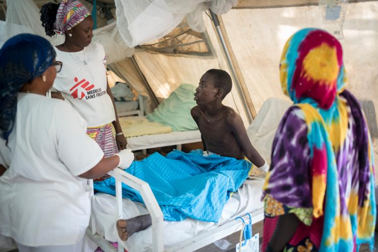Cameroon patient at MSF field hospital