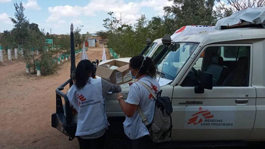 MSF staff prepare for a mobile clinic in Megab, south-west of Adigrat town